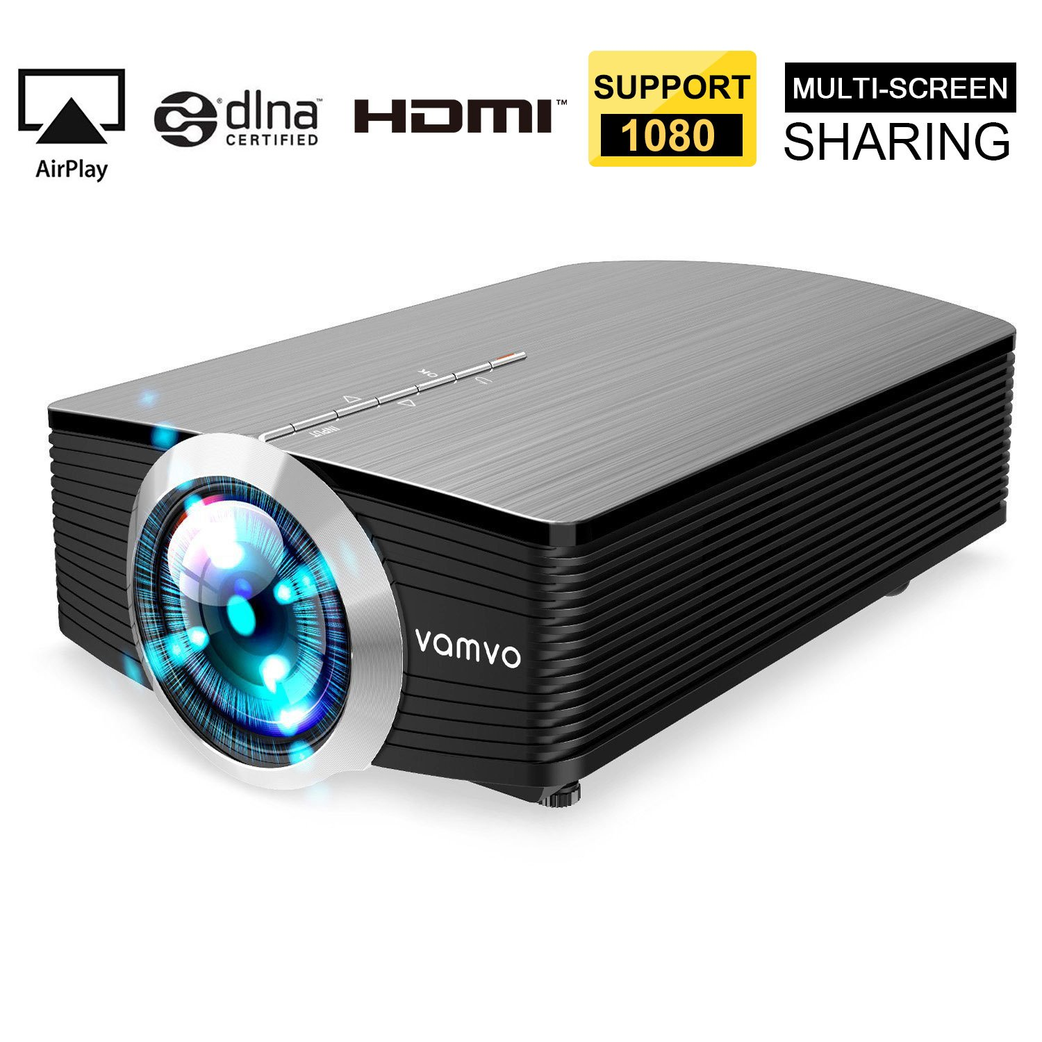 Smartphone Projector for iPhone Android Tablet, Vamvo Mini Portable Video Projector 1080P Support 1800 lumens 130'' Screen USB/AV/SD/HDMI/VGA Input