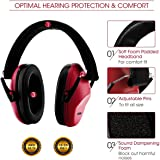 Mpow Kids Hearing Protection Ear Muffs, NRR 22dB Professional Sound Proof Ear Protection Ear Defenders For Sleeping Reading Shooting- Red