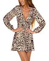 Aiyou Women Leopard Print Slim Cocktail Bodycon Bandage Clubwear Dress