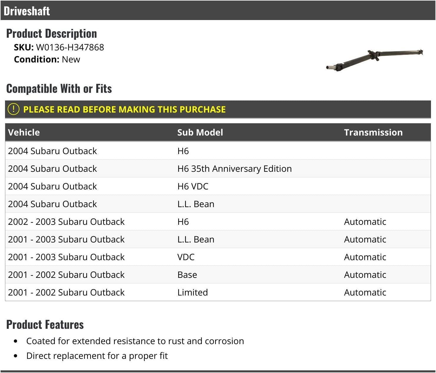 Driveshaft Compatible with 2001-2004 Subaru Outback