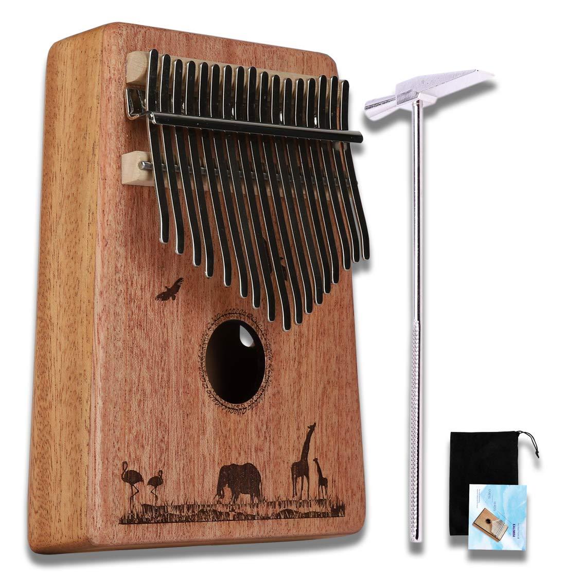 17 Key Kalimba VK-1706 Thumb Piano Solid Finger Piano Mahogany Body with Case - Elephant & Rhino UBETA