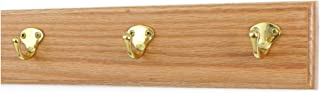 """product image for Oak Coat Rack with Solid Brass Single Style Hooks (Natural, 15"""" x  3.5"""" with 3 hooks)"""