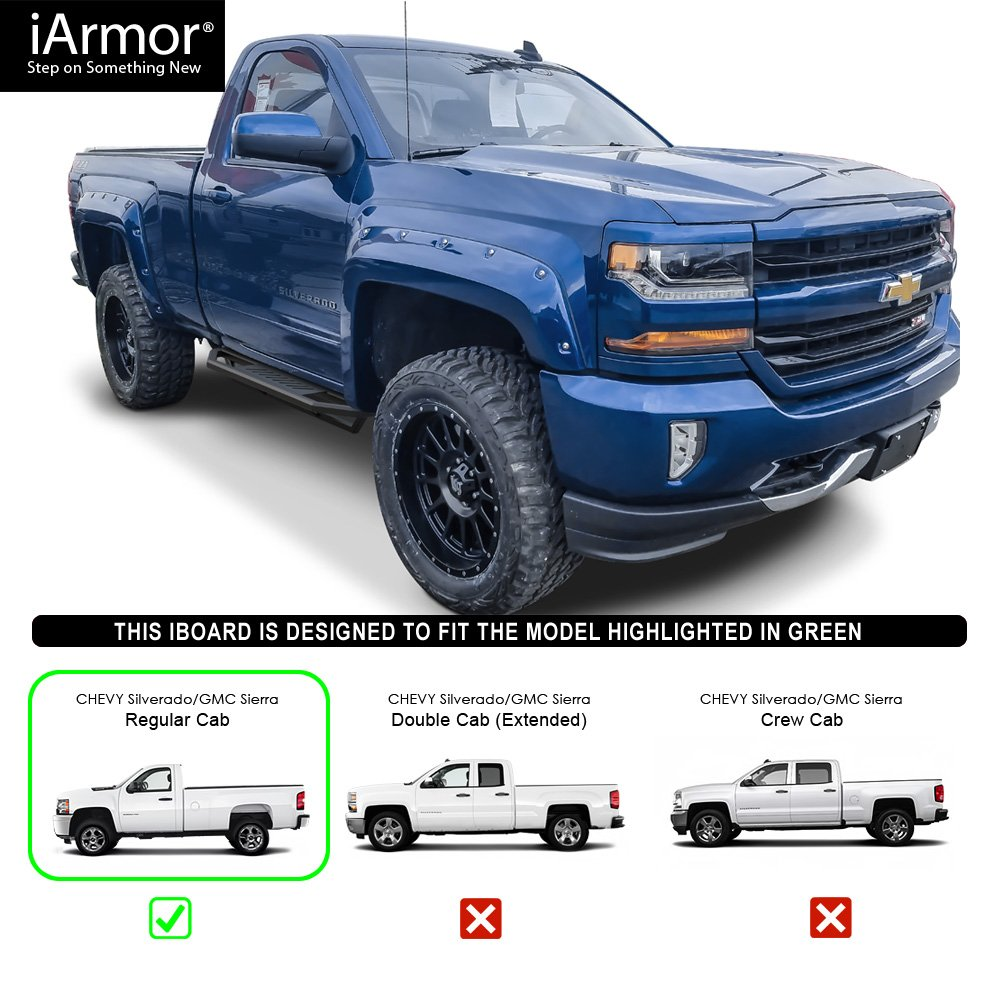APS Nerf Bars | Side Steps | Side Bars Excludes 07 Classic Models Off-Road 6.5 Side Armor Aluminum Running Boards Custom Fit 2007-2018 Chevy Silverado GMC Sierra Regular Cab /& 2019 2500 HD // 3500 HD