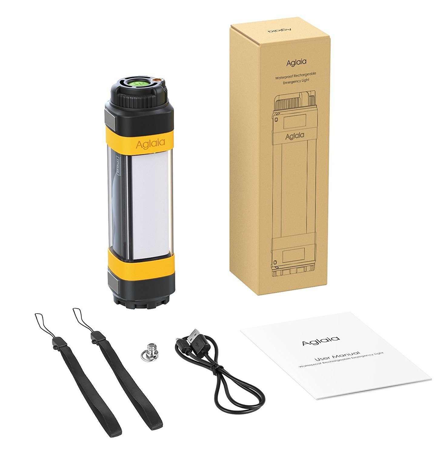 Aglaia 380LM Portable Ultra Bright Handheld LED Flashlight with Adjustable Focus and 7 Light Modes, Outdoor Water Resistant Torch, Powered Tactical Flashlight for Camping Hiking etc