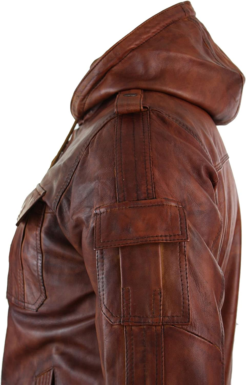 Giacca Vintage Imbottita da Uomo Bomber in Vera Pelle Nocciola con Cappuccio nocciola