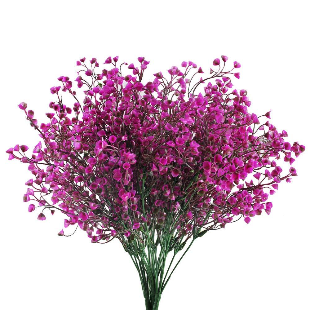 GTIDEA Artificial Outdoor Plants Fake Plastic Shrubs Bushes Farmhouse Faux Flowers Home Table Vase Centerpiece Bridal Wedding Bouquet Cemetery Decor Pack of 4 (Purple)
