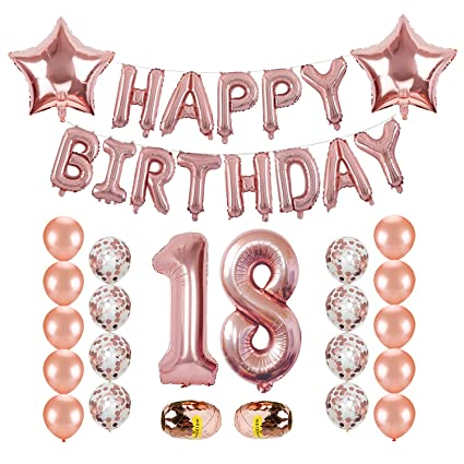 18th Birthday Decorations Kwayi Rose Gold Balloon Supplies With HAPPY BIRTHDAY Letter
