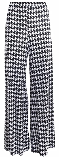 Dogtooth Pattern Wide Leg Palazzo Trousers. Sizes 10 to 26
