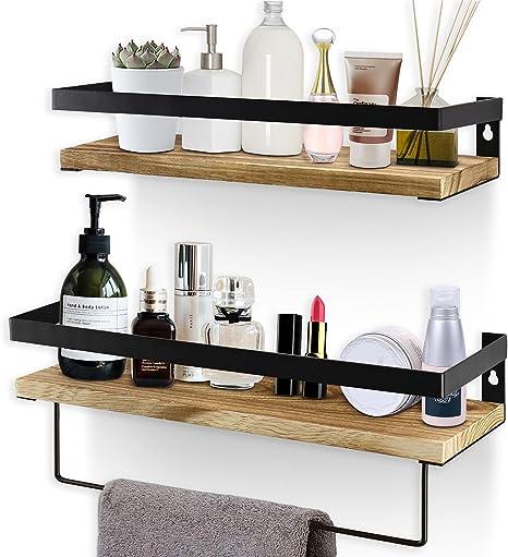 2 Tier Wall Shelf White Floating Shelves Bathroom With Towel Bar Hooks 16 Inch
