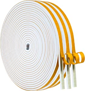 Foam Weather Strip-3 Rolls, 1/4 Inch Wide X 1/8 Inch Thick White High Density Sound Proof Insulation Closed Cell Foam Seal Weather Stripping for Doors and Windows Total 50 Feet Long(16.5ft x 3 Rolls)