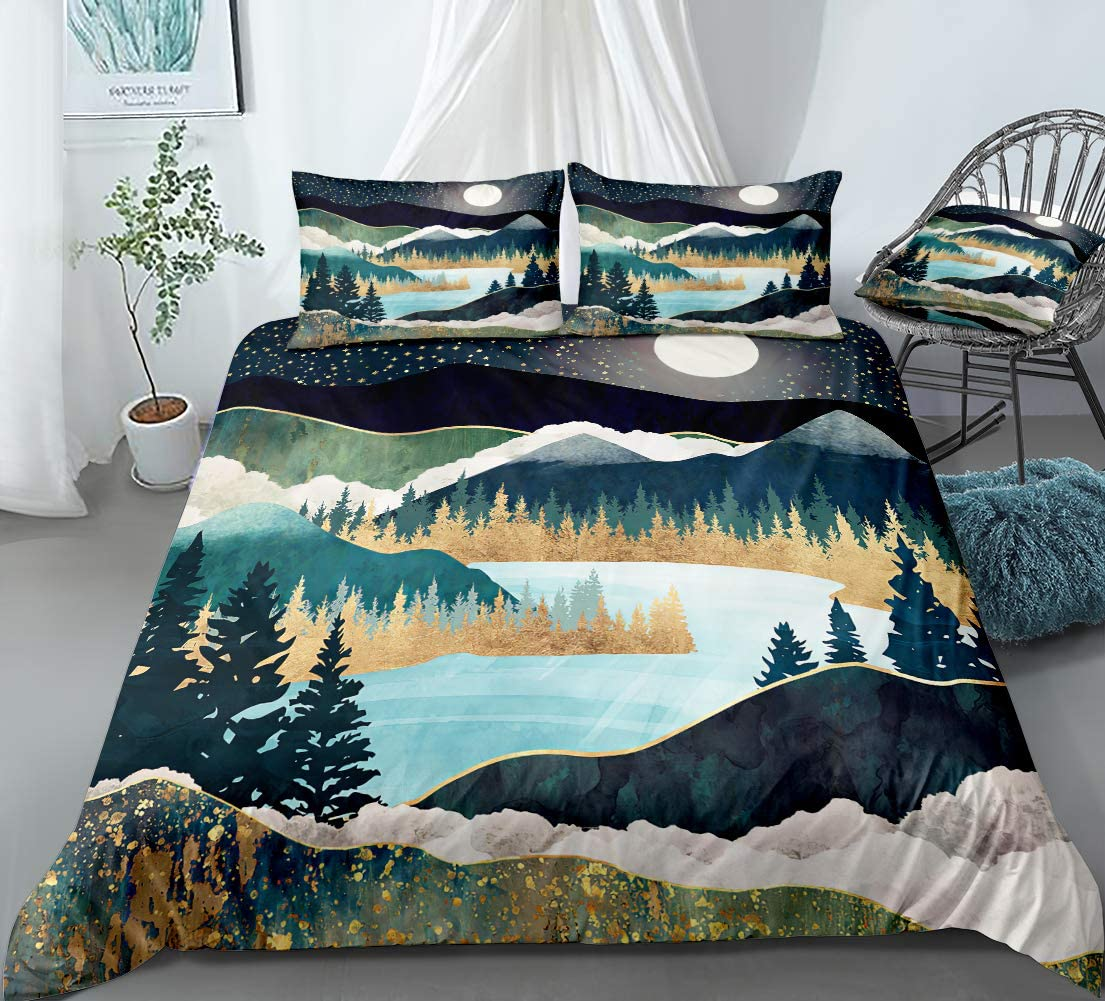 Mountain Bedding Nature River Duvet Cover Set Mountain River Trees and Starry Sky with Moon Printed Design Chic Natural Scenery Art Bedding Sets Queen 1 Duvet Cover 2 Pillowcases (Queen, River)
