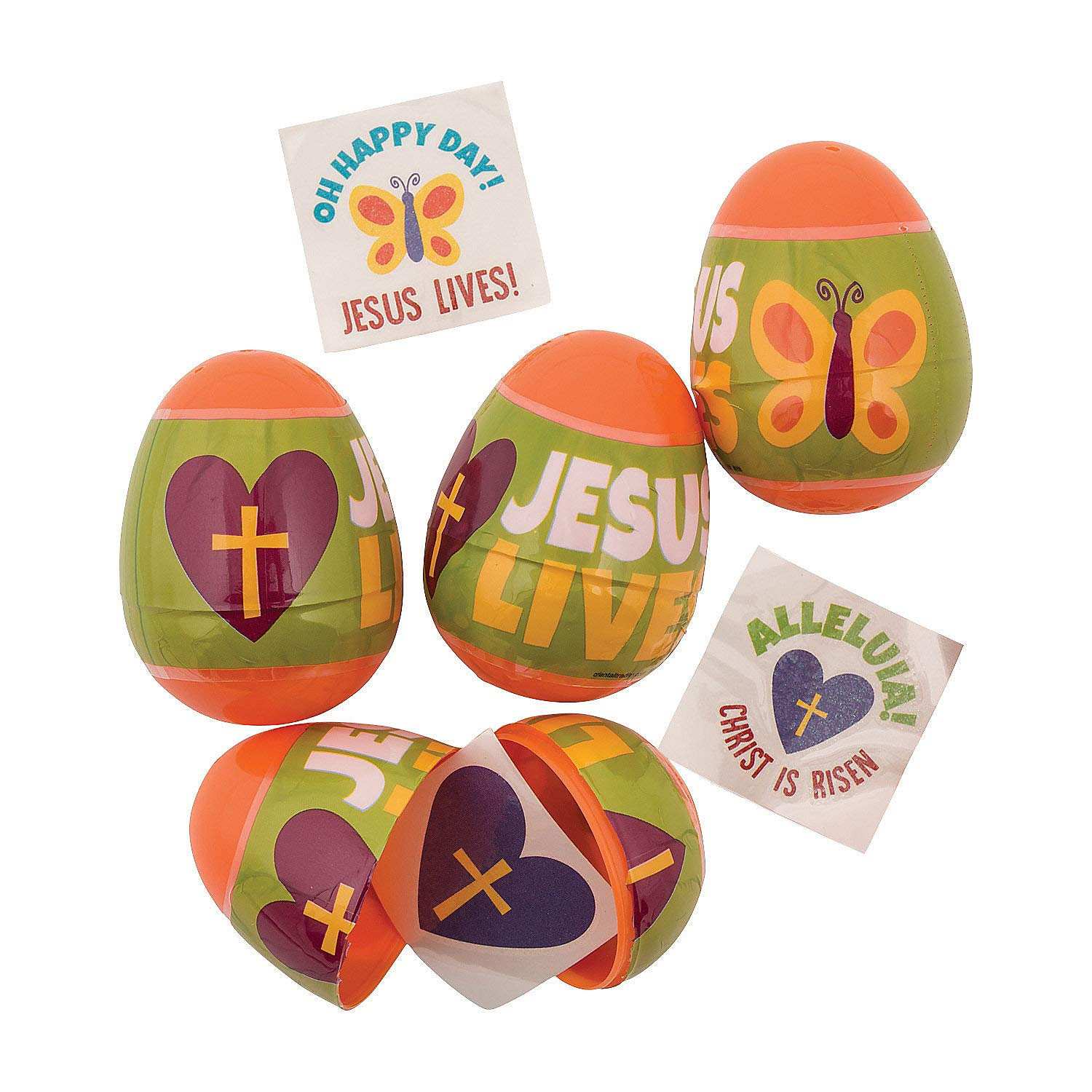 set of 12 Religious Tattoo Filled Easter Eggs