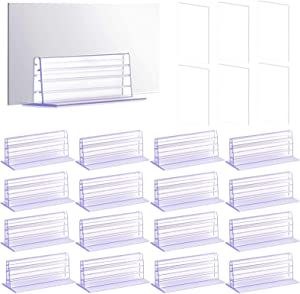 Palksky 16pcs Self Adhesive Sneeze Guard Holders/Plexiglass Sheet Stand to Fasten Acrylic Panels, PVC Shield, Glass Plate for Desk, Table, Counter