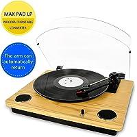 MAX Pad LP Tocadiscos para Vinilo con Altavoces estéreo, conversión de Vinilo a USB, soporta el Brazo de Retorno y Parada automáticamente / Salida RCA / Entrada Auxiliar, Naturaleza de Madera