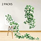 Artificial Flowers, Fake Flowers Garland Vine Plants for Birthday Party Wedding Decorations, Ivy Hanging White Flowers Roses Silk Flowers Decor for Home Outside Wall Faux Floral Garland|2pcs 14.86 FT