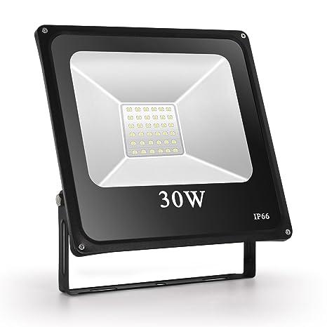 Toplanet 30w Foco Led Exterior Floodlight Iluminación Jardin Impermeable IP66 Exterior Iluminación 6500K