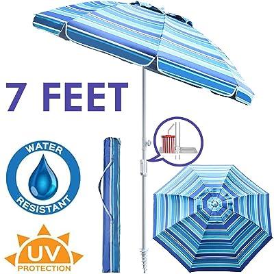 """PIEDLE Portable Beach Umbrella, 7"""" Sand Anchor with Air Vent Parasol Sun Shelter, UV 50+ Protection Beach Umbrella with Carry Bag for Patio Outdoor Use (Blue White Stripe, Upgrade) : Garden & Outdoor"""