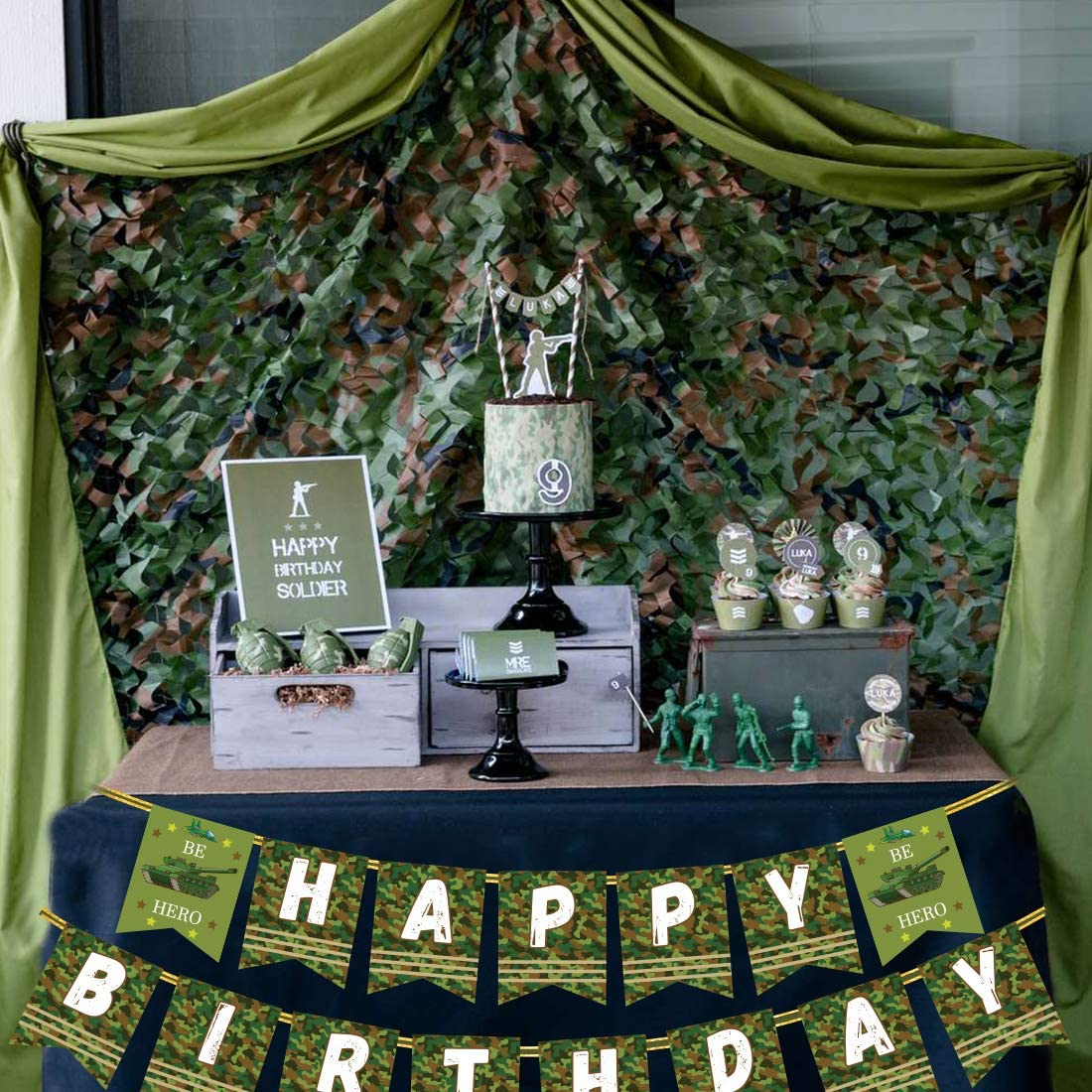 Camouflage Birthday Banner Party Decorations Camo Hero Army Soldier Birthday Party Bunting Banner Military Birthday Party Supplies