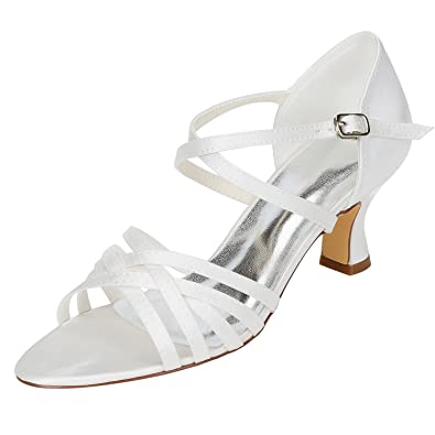 e55baf857b2 Emily Bridal Women s Silk Like Satin Chunky Heel Sandals with Others  (EU36 UK3.