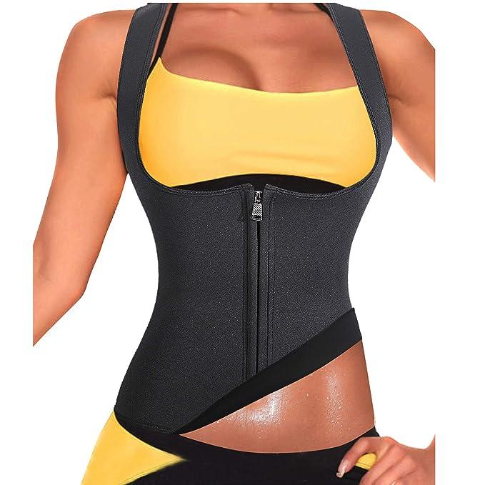 93ec2d21b38 Rolewpy Women Sweat Neoprene Waist Trainer Hot Slimming Sauna Vest Tummy  Control Body Shaper for Weight