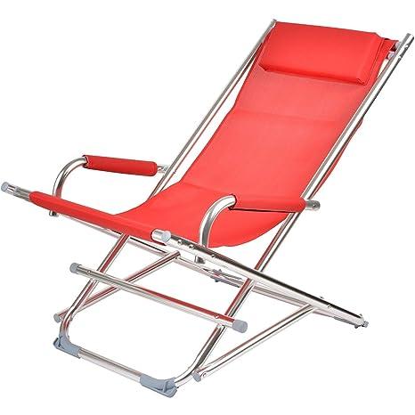 La Chaise Longue – – Juego de 2 sillas Plegables Larga Rojas