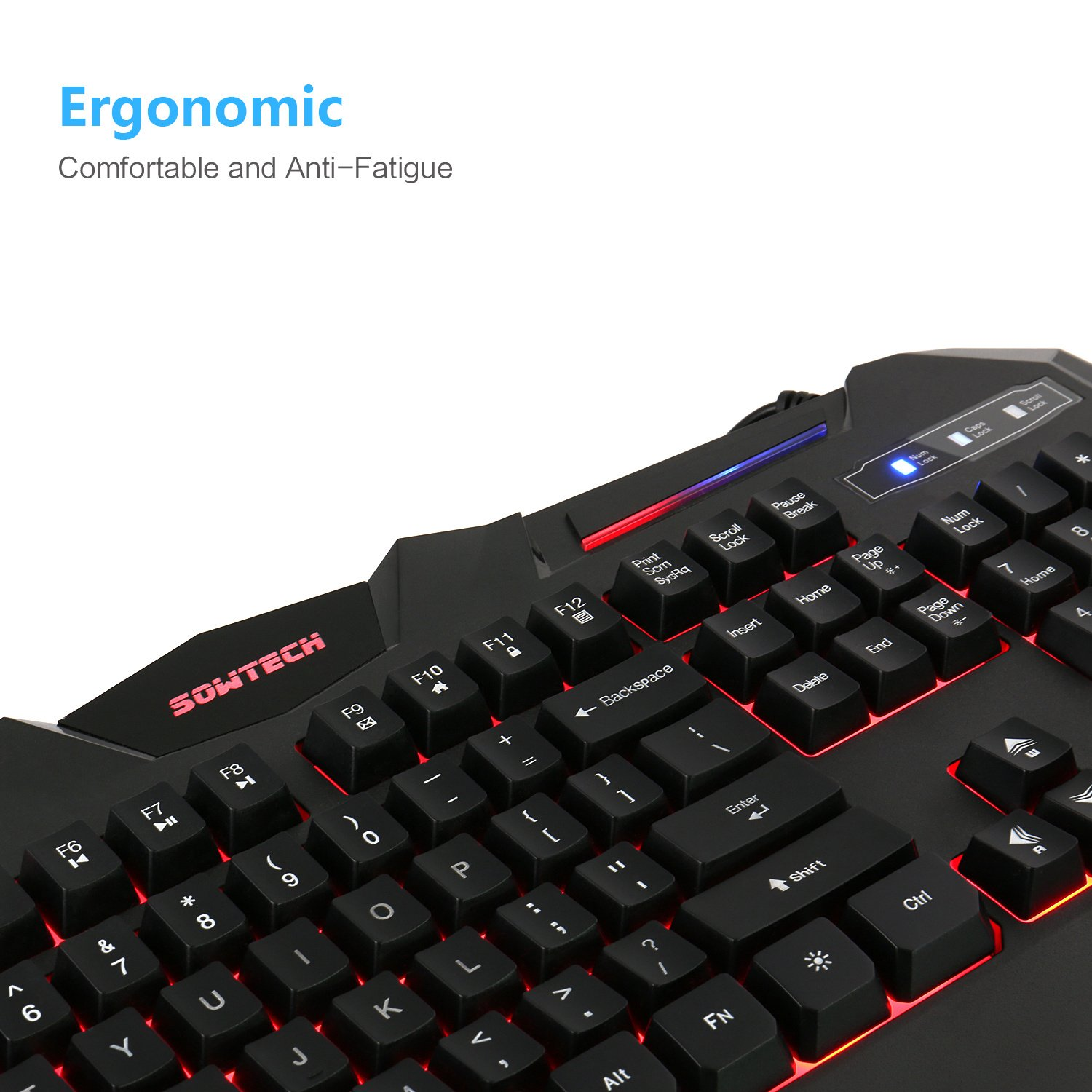 SOWTECH Gaming Keyboard Three Colors LED Backlit RGB illuminated keyboard for Gaming Office, US Layout