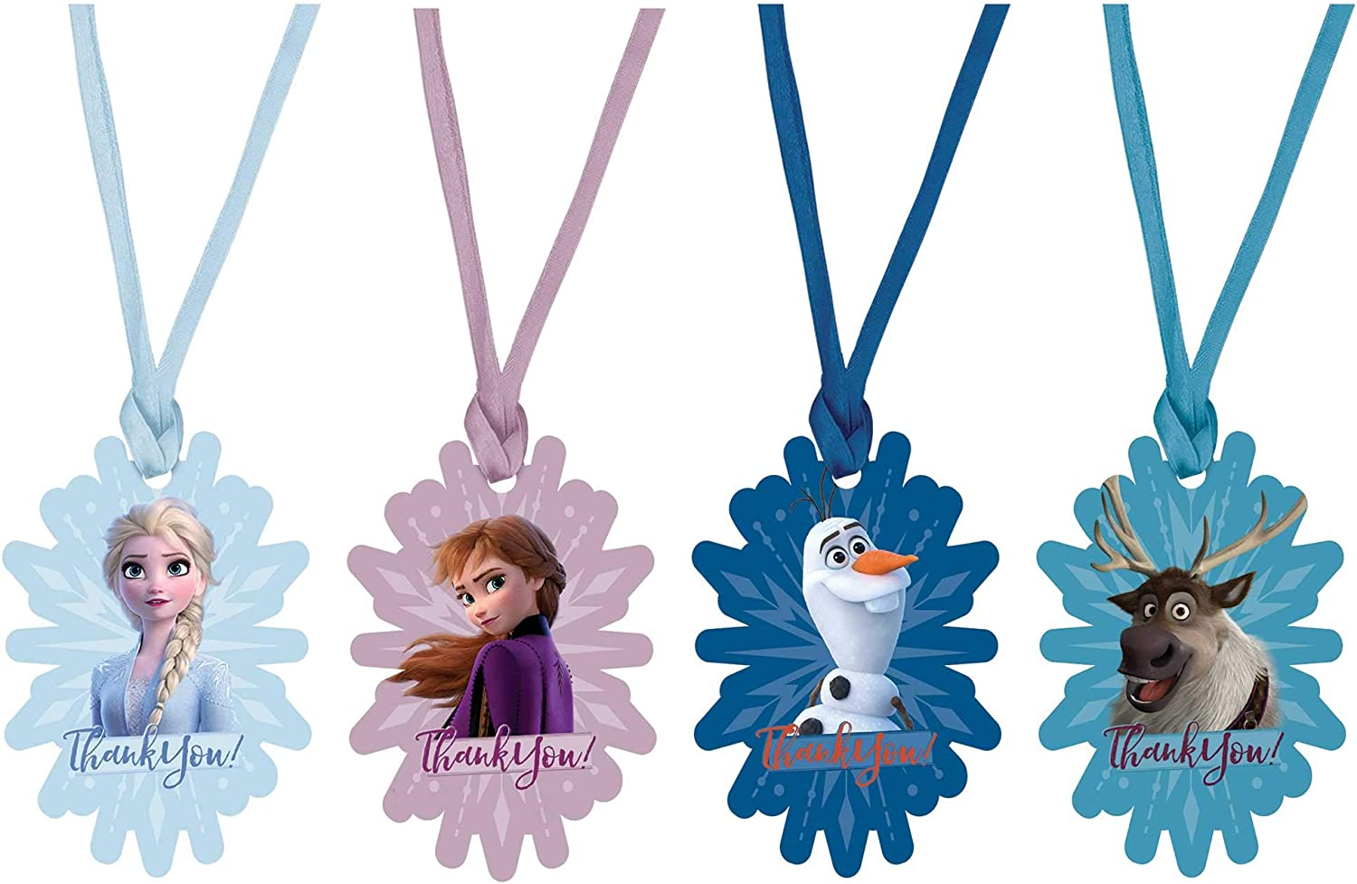 Amscan Thank You, Frozen 2 Snowflake-Shaped Birthday Tags, 2