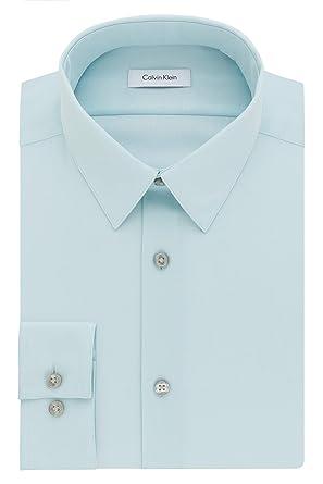 "24cd7e55 Calvin Klein Men's Dress Shirt Slim Fit Non Iron Herringbone, Mint Julip,  14"""