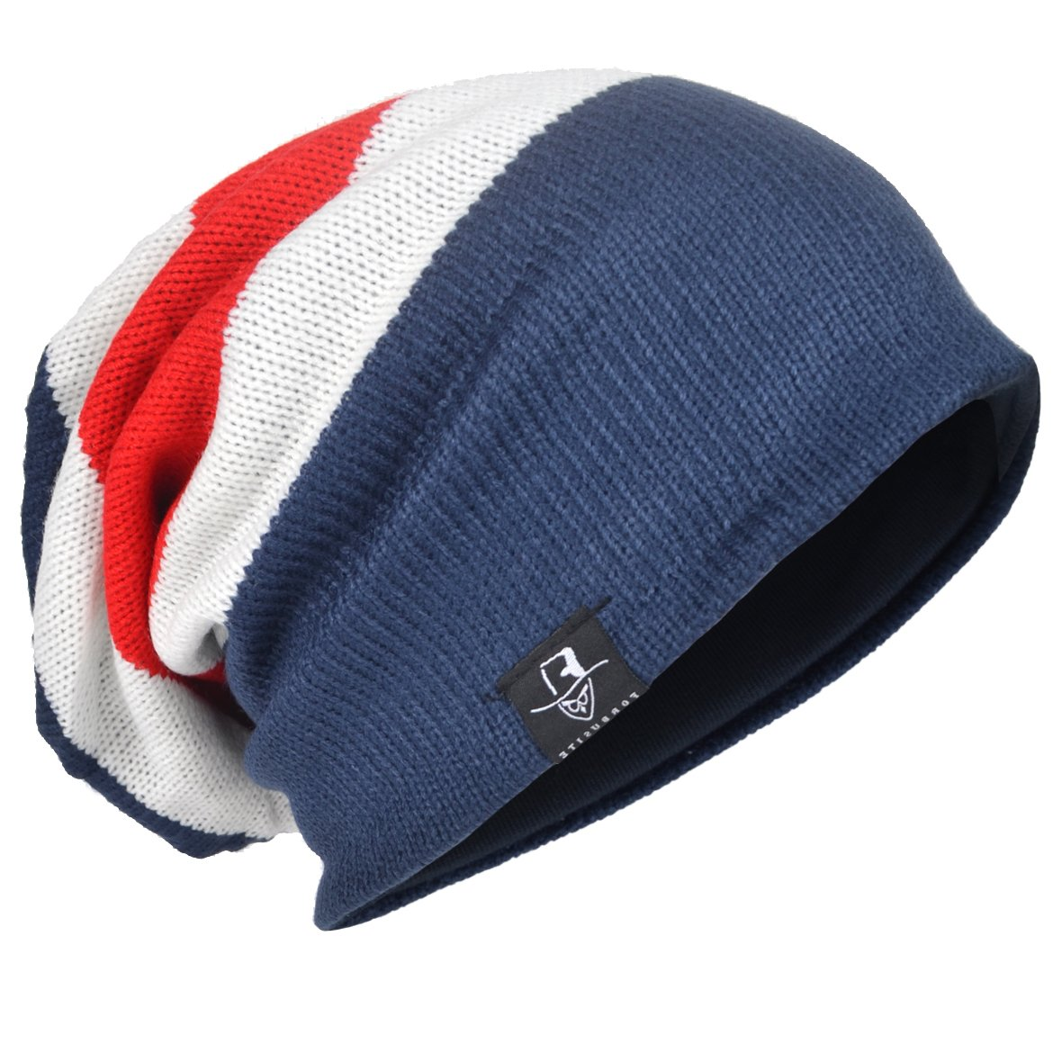 Mens Knit Beanie Slouch Baggy Skull Cap Vintage Long Hip-hop Winter Hat