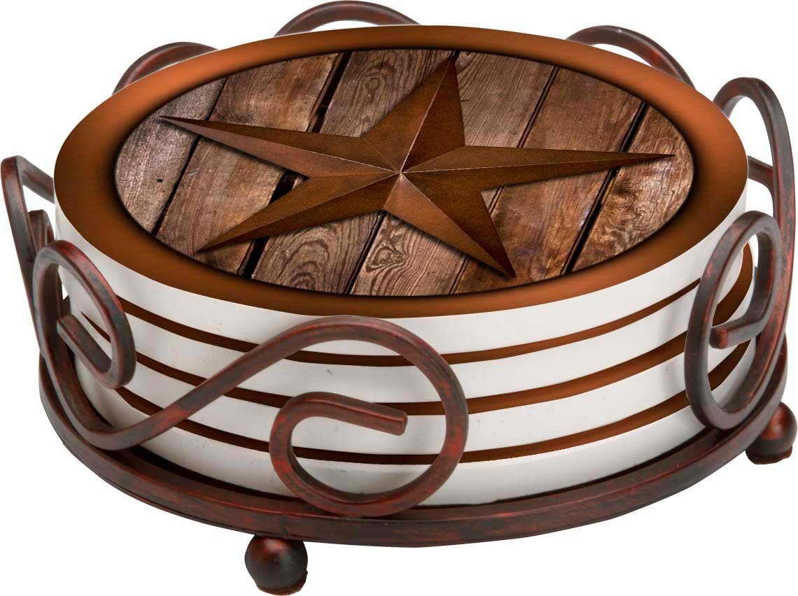 Thirstystone Stoneware Coaster Set, Gift Set Texas Star on Barnwood