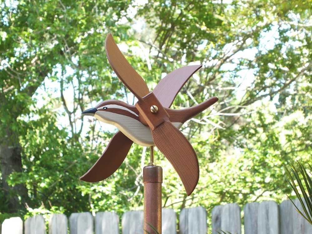 Carolina Wren Whirligig, handmade from solid southern cypress and solid brass hardware