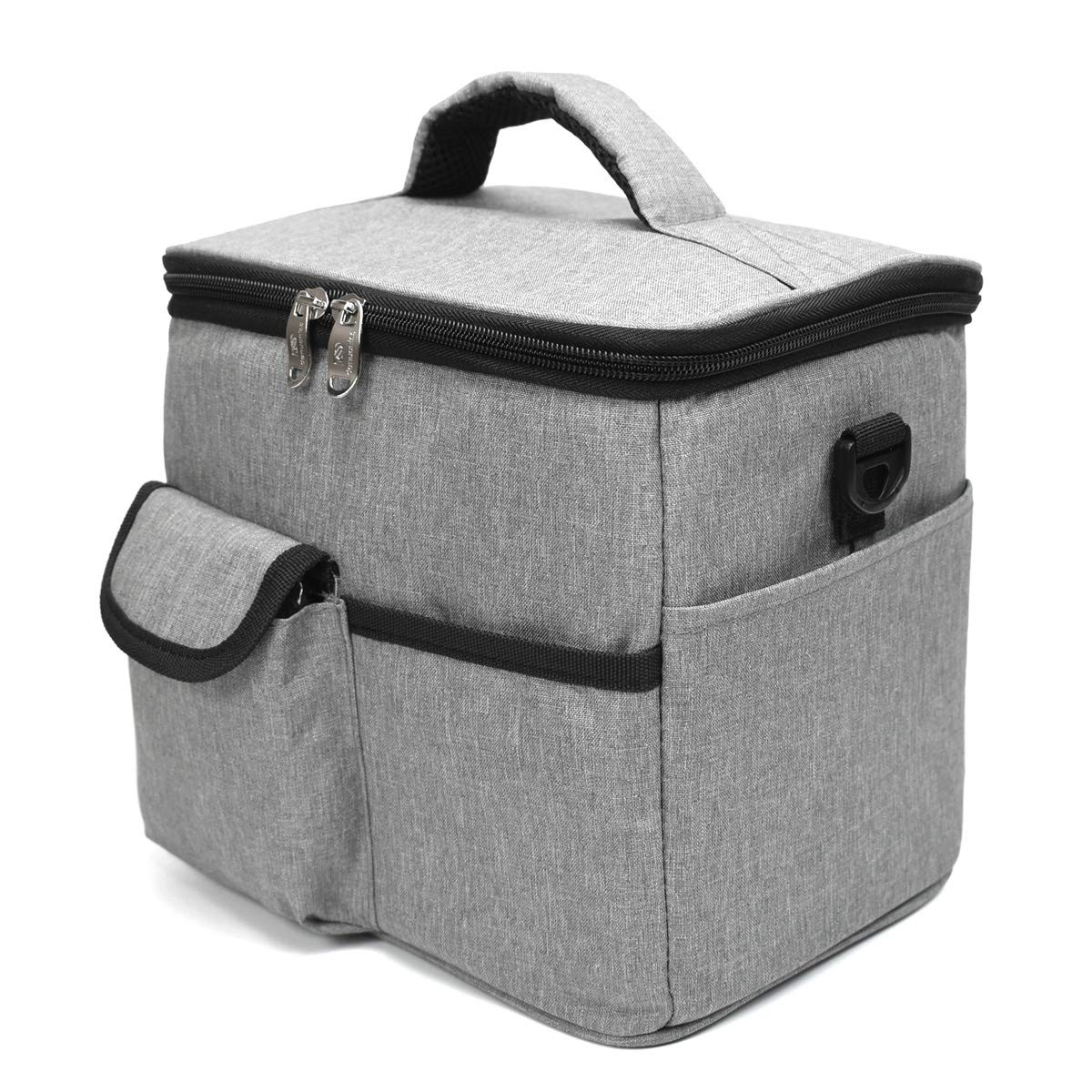ZIIYAN Reusable Drink Carrier for Delivery and Food Delivery Bag, a Insulated Travel Coffee Carrier, Beverage Caddy Bag, Lunch Bag with Handle Shoulder Strap and Removable Dividers (Grey)