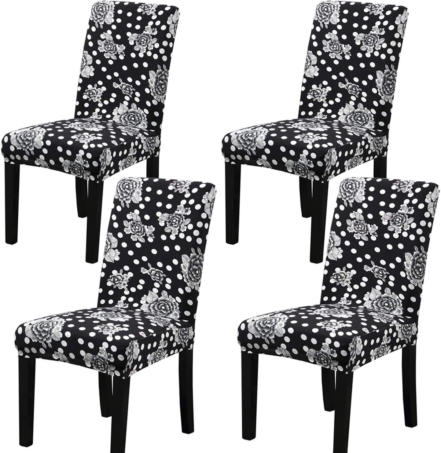 4 PC Stretch Dining Chair Covers Printed Flower Spandex Seat Slipcover Chair Protectors Covers Removable Washable Anti-dust Seat for Hotel,Office,Ceremony,Banquet Wedding Party(Black White Snow)