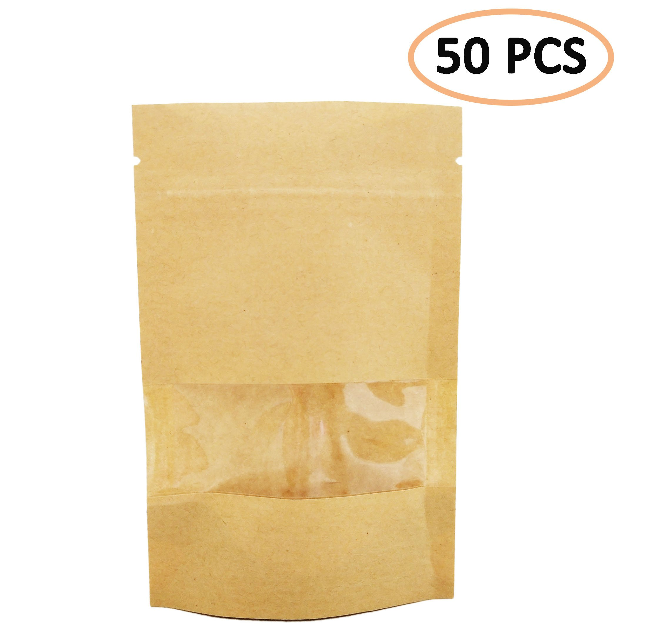 """50 PCS All-Purpose Kraft Paper Stand Up Bag, Zip Lock Reusable Kraft Package Bag Storage Pouch with Notch and Transparent Window for Storing Seeds, Snack and Nuts – Brown (50, 3.5""""5.5"""")"""
