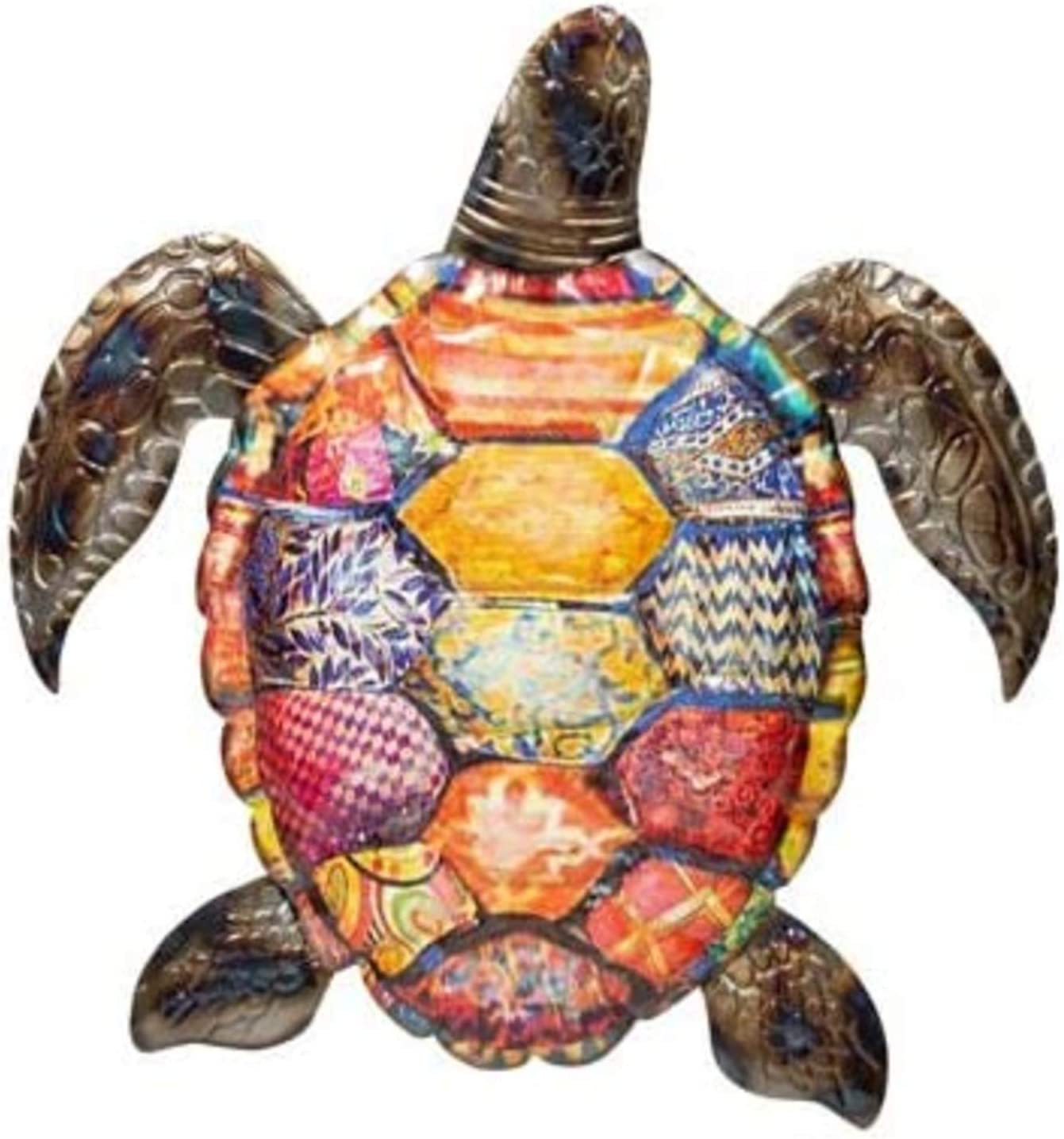 Metal wall Art Sea Turtle Indoor Outdoor Tropical Wall Sculpture Decor Metal Beach Turtle Art (11 in x 11 in)