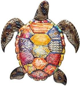 Metal wall Art Sea Turtle Indoor Outdoor Tropical Wall Sculpture Decor Metal Beach Turtle Art (11 in x 11 in)