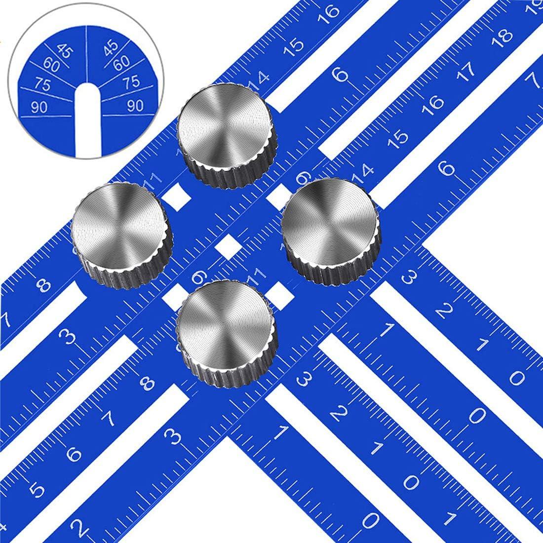 KEGOUU Multi Angle Measuring Ruler, Premium Aluminum Alloy Ultimate Marking Template Tool/Woodworking Tool for Craftsmen Builders DIY-ers (4 sides, Blue)