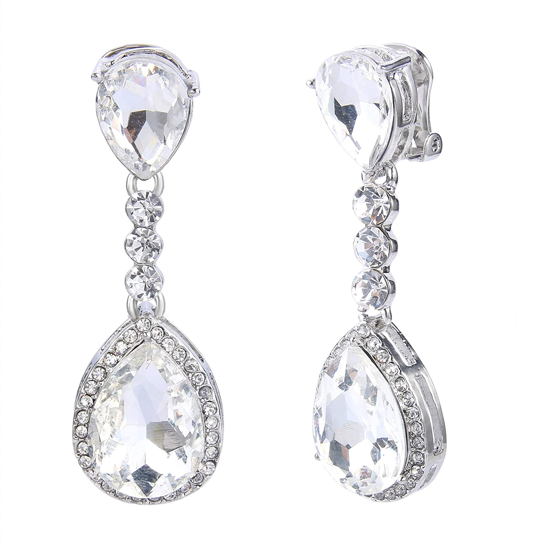 855103b33 BriLove Women's Wedding Bridal Crystal Teardrop Infinity Figure 8 ...