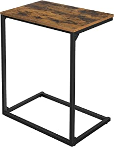 VASAGLE ALINRU Sofa Side Table, Laptop Table, End Table, Work in Bed or on The Sofa, Simple Structure, Stable, for Living Room, Industrial Style, Rustic Brown and Black ULNT52BX