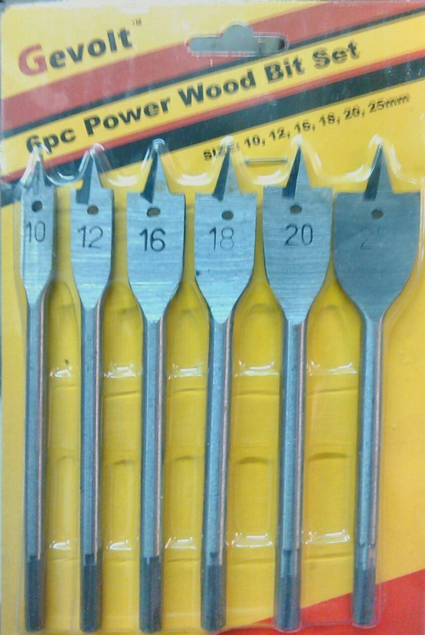 India Flat Drill Bit Set For Wood (Set Of 6)