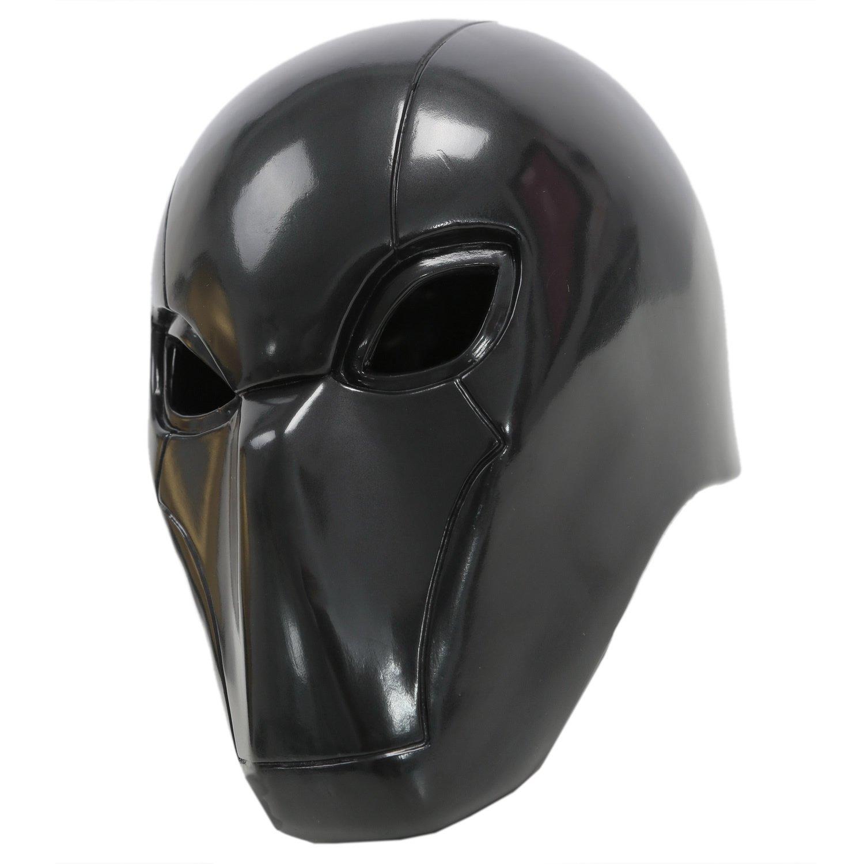 Amazon.com: Red Hood Mask PVC Helmet Black Deluxe Adult Halloween ...