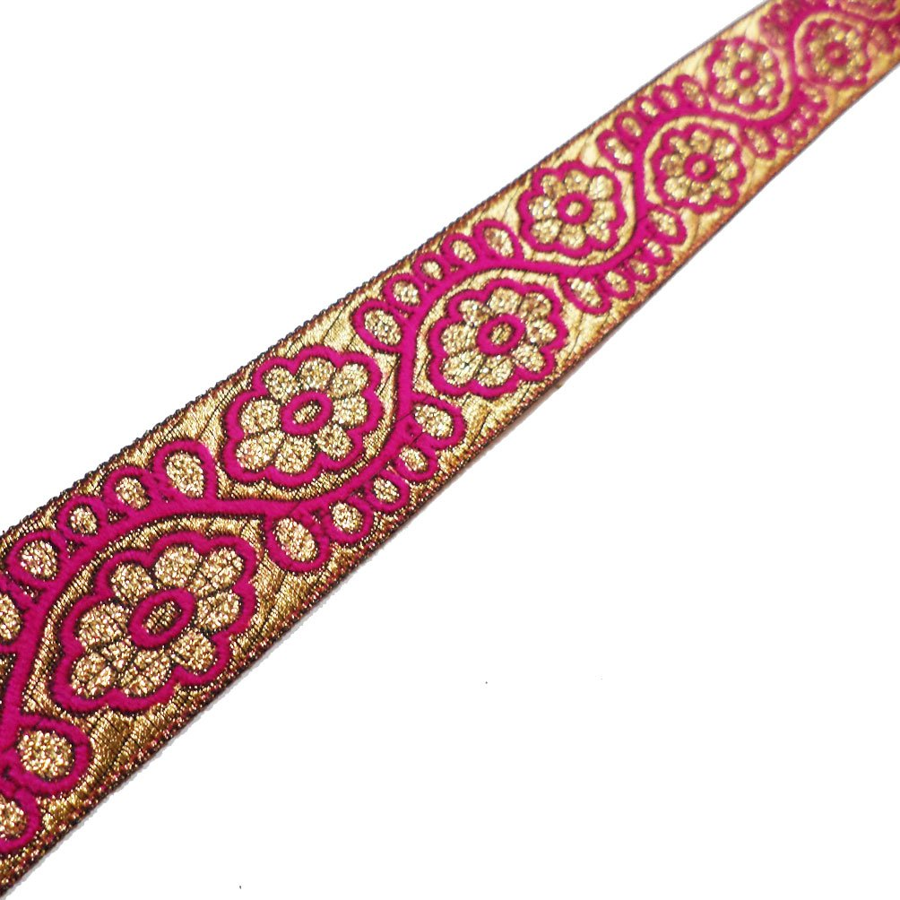 Indian Traditional Jacquard Trim Metallic Gold Floral Weaving Sari Border Crafted Ribbon Lace 4 Yrd by Imlistreet