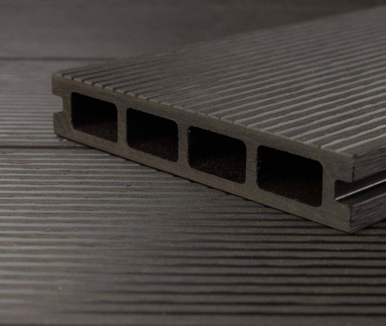 40x60 mm Unterkonstruktion /& Clips I Dielenl/änge 3,20 m I Fl/äche 9 m/² HORI/® WPC-Terrassendiele Kuba anthrazit I Komplett-Set inkl