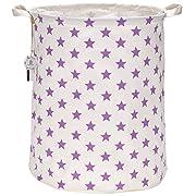 Sea Team 19.7  Large Sized Waterproof Coating Ramie Cotton Fabric Folding Laundry Hamper Bucket Cylindric Burlap Canvas Storage Basket with Stylish Purple & White Star Design