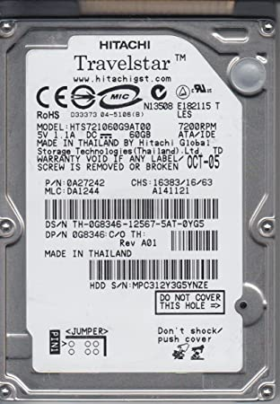 "Hitachi Travelstar 60GB 2.5/"" IDE 7200 RPM  Hard Drive HTS721060G9AT00 HDD"