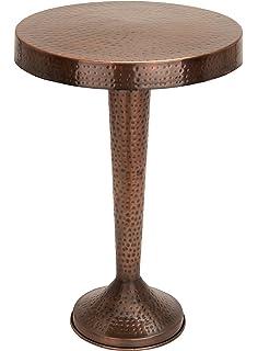 Benzara Vintage Inspire Metal Bronze Accent Table, 26 Inch, 19 Inch