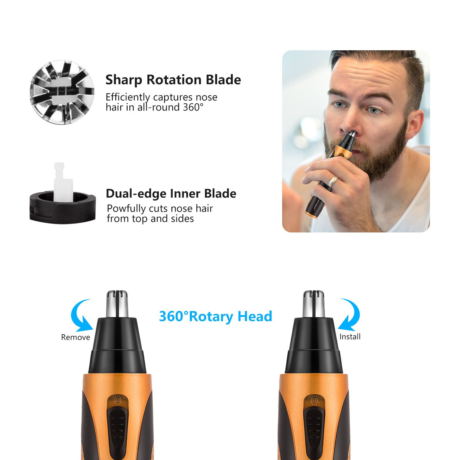 Nose Hair Trimmer, [Newest Version] USB 4 in 1 Rechargeable waterproof Nose Sideburn Eyebrow Beard Ear Hair Trimmer for Men & Women by Sportsman (Image #2)