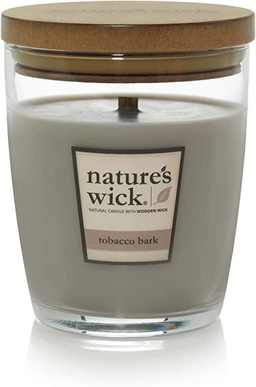 Jarred Candle Natural Wood Wick Candle with up to 65 Hour Burn Time Natures Wick Bonfire Nights Scented Candle 10 oz