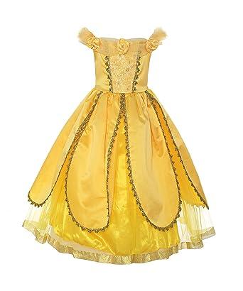 e0e9ab9aede85 ReliBeauty – Fille – Robe de Princesse Belle Tenu Magnifique Costume des  Fetes Deguisement Conte de