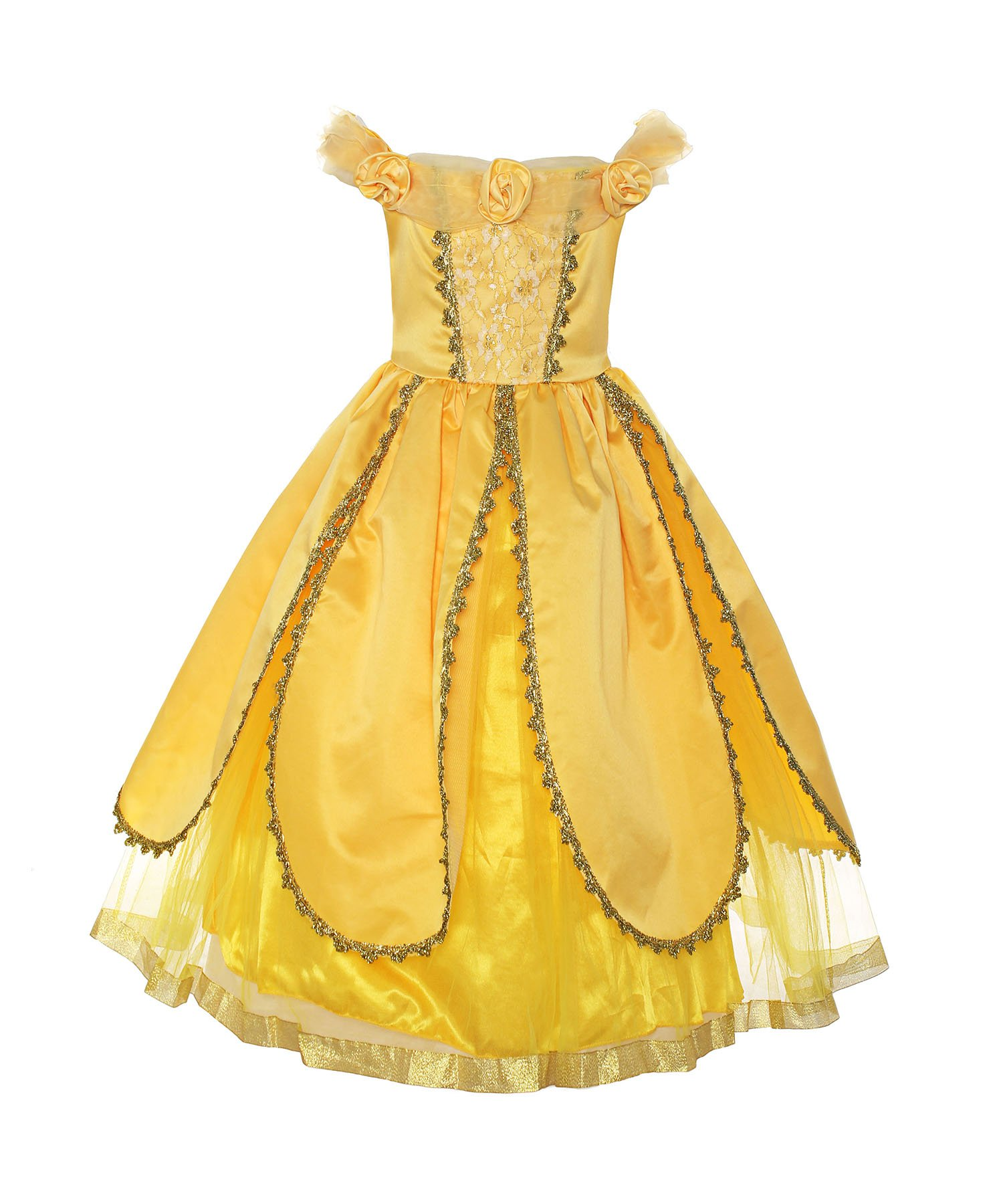 ReliBeauty Girls Princess Belle Costume Belted Dress Up, Yellow, 4